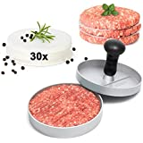 GOURMEO prensa de hamburguesa + 30 hojas de papel antiadhesivo de aluminio con capa antiadhesiva | con 2 años de garantía de satisfacción | prensa de hamburguesa, prensador de hamburguesa, burger maker