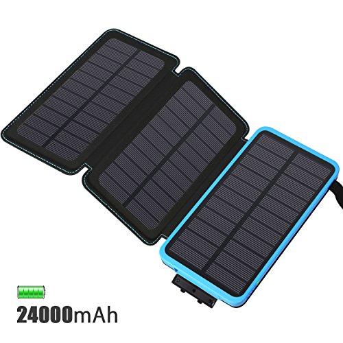 Feelle caricabatterie solare 24000mah, power bank con 3 pannelli solare portatile batteria pack impermeabile 2 porte usb per iphone 6s 6 plus 5s, ipad air, samsung galaxy,huawei, nexus, htc
