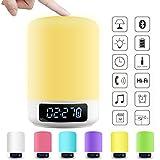 ACRATO Portable Bluetooth Lautsprecher Wireless Speaker mit TF Karte Funktion Lautsprecherlampe mit Farbewechsel Tischleuchte Wecker Mikrofon TouchsensorTragbar