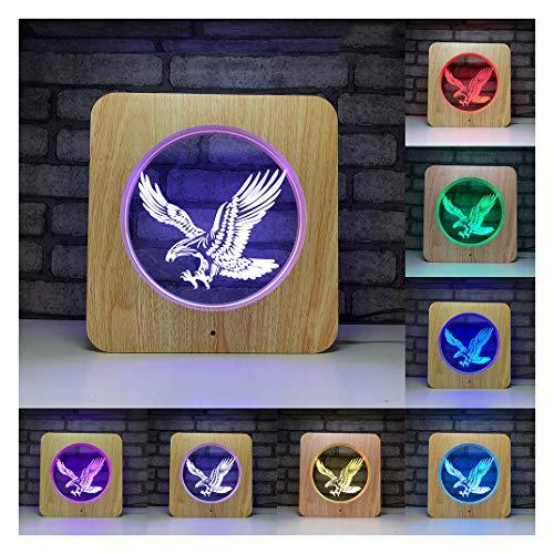 Xt 3D Illusion Lampe, 7 Farbwechsel Fernbedienung Lampe Touch Nachtlicht für Baby Schlafzimmer Dekoration Kinder Weihnachten Geburtstagsgeschenk,Eagle - Baby Zubehör Eagle