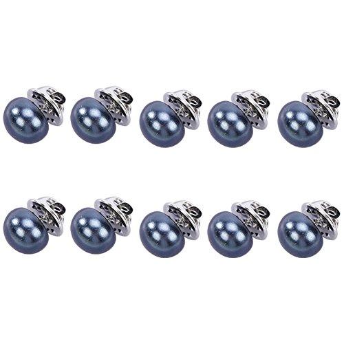 Doitsa 10 x Brosche Perle Decorative Knöpfe für Damen Schal Mantel Schmucknadel Perfekte Sicherheit Brosche (Blau)