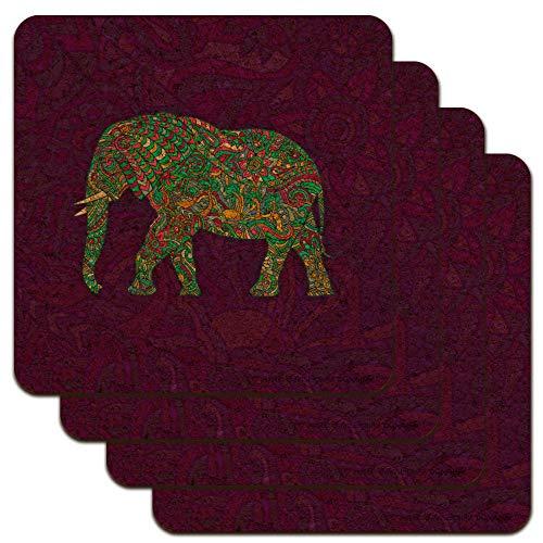 Mosaic Elephant Low Profile Novelty Cork Coaster Set