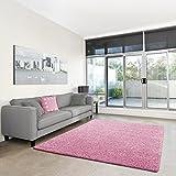 Shaggy-Teppich | Flauschiger Hochflor fürs Wohnzimmer, Schlafzimmer oder Kinderzimmer | einfarbig, schadstoffgeprüft, allergikergeeignet in Farbe: Rosa; Größe: 120 x 170 cm