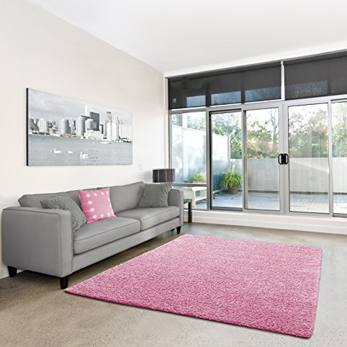 Shaggy-Teppich   Flauschiger Hochflor fürs Wohnzimmer, Schlafzimmer oder Kinderzimmer   einfarbig, schadstoffgeprüft, allergikergeeignet in Farbe: Rosa; Größe: 40 x 60 cm