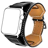Kompatibel Mit Für Apple Watch Leather Armband 42mm,Sanday Premium Echtes Leder Vintage Band Strap Edelstahlschließe für Apple Watch 42mm Series 3,Series 2,Series 1 Schwarz