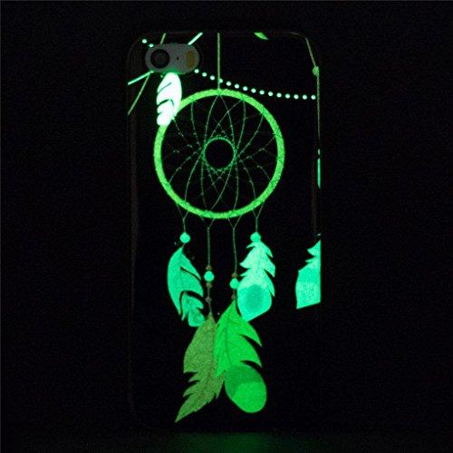 Apple iPhone SE 5 5S Hülle, SATURCASE Schönes Muster Leuchtend Fluoreszierend Ultra Dünn Weich TPU Gel Silikon Schützend Zurück Case Cover Handy Tasche Schutzhülle Handyhülle Hülle für Apple iPhone SE Muster-2