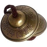 Handmade Brass Decorative Manjeera Pair Handmade Statue Musical and Traditional Instrument Indian Music (2 IN, Om Namah Shivay)