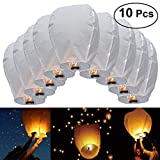 JRing 10Pcs Lanternes Volantes Chinoises en Papier Fly Candle Lamps for Christmas, New Years Eve, Wish Party & Weddings / Blanc