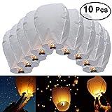 JRing Lanterne Cinesi Volanti di Carta 10Pcs Volano Lampade di Candela per Natale, Capodanno, Wish Party & Matrimoni / Bianco