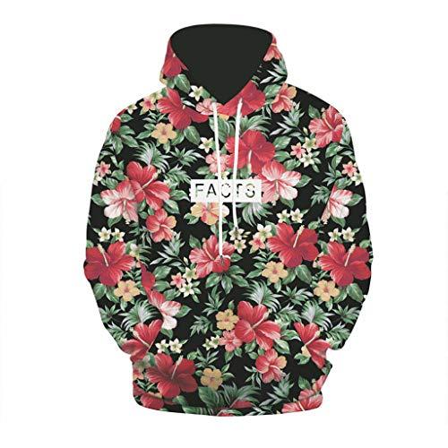 DNOQN Männer T Shirt Slim Fit T Shirts Sportbekleidung Herren Herbst Mode 3D Drucken Hoodie mit Kapuze Lose Langarm Top Sweatshirt GrüN XXL