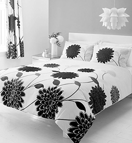 flower-printed-bumper-bed-sets-with-matching-curtains-in-double-or-king-size-king-size-black-white