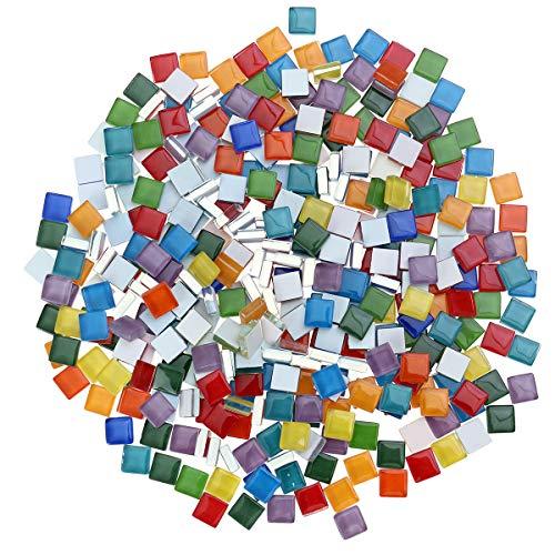 Toyvian Glasmosaik Fliesen DIY Dekoration Handgemachte Geschenke 360 Stücke Mischfarbe 300g 1x1 cm