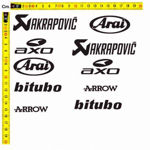 Black Bit - Adesivi Sticker Sponsor Tecnici Akrapovic Bitubo Arrow Arai Axo Helmet Tuning, Colore: Grigio