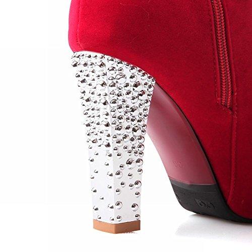 Mee Shoes Damen Reißverschluss high heels inner Plateau Stiefel Rot