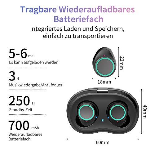 Antimi Bluetooth Kopfhörer, Bluetooth 5.0 Bluetooth Headphones Drahtlos Kopfhörer Stereo-Minikopfhörer IPX6 Wasserdicht Kopfhörer in Ear mit Ladebox und Integriertem Mikrofon für Android und iPhone - 4