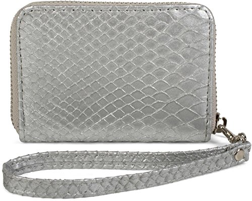 styleBREAKER Mini Geldbörse in weicher Krokodil Leder Optik, Reißverschluss mit Handschlaufe, Portemonnaie, Damen 02040108, Farbe:Silber