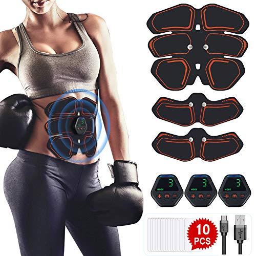 Hieha EMS Training Muskelstimulator, EMS Bauchmuskeltrainer Elektrostimulation Muskeltraining USB Wiederaufladbar EMS Trainingsgerät für Körperbau und Fettverbrennung