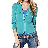Junjie Frauen Geschäfts Mantel, Blazer-Klage-langärmlige Oberseiten-dünne Jacke Outwear Größe Größe Sweatshirt Bluse Arbeit Rüschen Patchwork T-Shirt Elegant S-6XL (Mintgrün#, Medium)