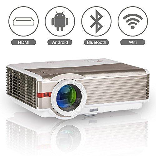 Wireless Home cine proyector HD con Android Wifi Bluetooth, LED LCD 5000 lúmenes WXGA 1080p HDMI USB VGA AV, cubierta al aire libre entretenimiento Video Proyector Multimedia para juegos películas