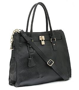 BOVARI - Golden Padlock Bag /bolso al hombro /bolso de asas - cuero de alta calidad - color negro - 37x30x16 cm