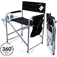Marko Outdoor Folding Directors Chair Lightweight Portable Fish Camping Outdoor Seat Side Table