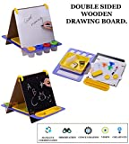WISHKEY All-in-One Double Sided Wooden Standing Kid's Art Easel with Paper and Accessories