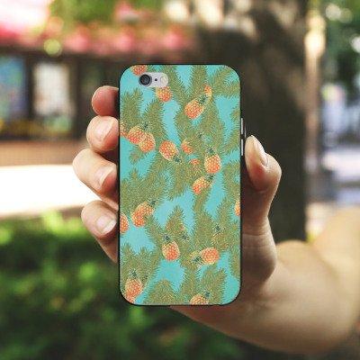 Apple iPhone 5s Housse Étui Protection Coque Ananas Motif Motif Housse en silicone noir / blanc