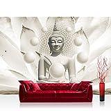 Vlies Fototapete 208x146cm PREMIUM PLUS Wand Foto Tapete Wand Bild Vliestapete - Wellness Tapete Buddha Meditation Entspannung Kugeln weiß - no. 2149