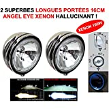 Potencia Xenon 100 W. Angel Eye. 2 superbes faros 16 cm larga portee con cerclage LED. Serie Limitada CHROMEE cristal blanco. Raid Preparation 4 x 4 Hella Oscar Lightforce Cibie kclite