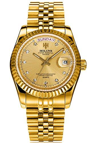 Loluka Herren Uhr Analog Quarz Edelstahl Armband Gold Datum Luxus Mode Elegant Design (Gold-analog-herren-uhr)