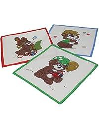12 Stück Kinder Stoff Taschentücher Kindertaschentücher Set Größe 26x26 cm 100% Baumwolle Tier Motive Design 8