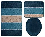 Ilkadim Orion Badgarnitur 3 TLG. Set 50x80 cm Mehrfarbig gestreift, WC Vorleger ohne Ausschnitt für Hänge-WC (Petrol türkis beige 2)