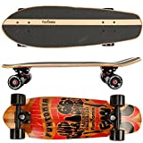 Funtomia Mini Board, Midi Cruiser Skateboard 7 Ply Canadian Maple Wood Wooden Hard bamboo + ABEC-11 Mach1 Ball Bearing Midi-Board Route66 / mit schwarzen Rollen (ohne LED) / aus Ahorn und Bambusholz
