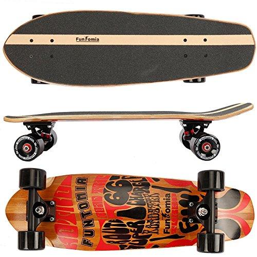 FunTomia® Skateboard 66cm - 7ply strati di acero canadese o bambù - Con o senza ruote a LED (route66 / senza ruote LED / 5 strati di acero canadese o 2 strati di bambù)