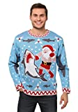 Men's Santa vs Shark Christmas Sweater Medium