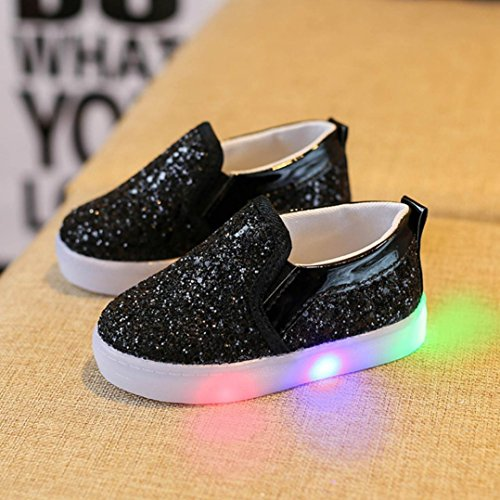 Pour 1-6 ans Bébé,Transer ® Mode bébé garçon fille LED Sneakers lumineux tout-petits casual chaussures colorées Noir