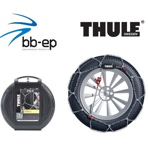Feingliedrige Schneekette THULE 9mm (9719107279) für DR 3 mit der Reifengröße 235/50 R18 im Set mit hochwertigen Handschuhen - CG9107