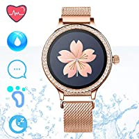 IP68 Fitness Tracker Smart Watch - Pedometer Step Counter Smart Bracelet with Heart Rate Sleep Monitor Calorie Counter Smartwatches for Women Call SMS Push Compatible for Android iOS (Gold)