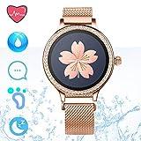 IP68 Fitness Tracker Smart Watch - Schrittzähler Uhr Smart Armband mit Herzfrequenz Schlaf Tracker Kalorienzähler Smartwatches für Frauen Anruf SMS Push Kompatibel für Android iOS (Gold)