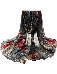 Transer ® Femelle Écharpes,Mode Femmes Fashion Design Fleur Imprimé Voile Stole Écharpes Long Neck Wraps Châle Écharpe