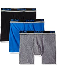 Gildan Men's Cotton Spandex Athletic Boxer Briefs, 3-Pack
