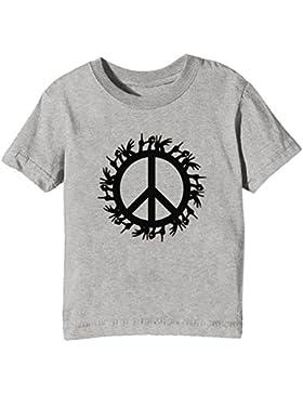 Paz Y Amor Niños Unisexo Niño Niña Camiseta Cuello Redondo Gris Manga Corta Todos Los Tamaños Kids Unisex Boys...