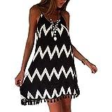 Minetom vestito da estate donne sexy profondo Z. D'ete Gland Lache Vestito Nero Bianco Stripes onde di cinghia di spaghetti di modo delle donne del pannello esterno dei vestiti da cocktail
