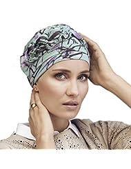 Gorro Azure diseño Helena Christensen estampado magnolia azul para mujeres en tratamiento de quimioterapia -edición limitada-