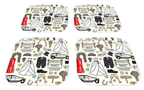 Selina-Jayne Wedding Tag Limited Edition Designer Untersetzer-Set