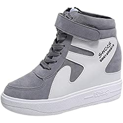 POLP Calzado Zapatos Mujer Cuña Deportivos Zapatillas Running para Mujer Aire Libre y Deporte Transpirables Zapatos Gimnasio Correr Sneakers Verde Plataforma Casual Camuflaje 35-42 (2Gris, CN 35)