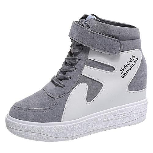 POLP Calzado Zapatos Mujer Cuña Deportivos Zapatillas Running para Mujer Aire Libre y Deporte Transpirables Zapatos Gimnasio Correr Sneakers Verde Plataforma Casual Camuflaje 35-42 (2Gris, CN 36)