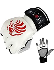 Pro Guantes de MMA y # x2605; Sparring Grappling Muay Thai mitones Lucha UFC Artes Marciales Mixtas manopla & # x2605; Boxeo Jaula Kickboxing Guante – Valour Strike®, White,Black,Red