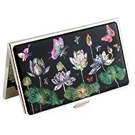 Fleur de Lotus en Nacre de Capiz et papillon Fleur Métal Acier inoxydable Porte de visite pour carte d''identification avec étui de rangement