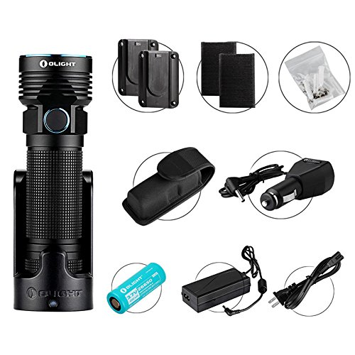 OLIGHT R50 PRO LE (Law Enforcement) Kit - Lampe Torche LED Rechargeable Puissante 3200 Lumens pour Forces de l'Ordre, LED CREE XHP70, Batterie lithium-ion Rechargeable 26650 4500mAh